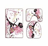 A.Monamour Pink Butterfly Girl With Floral Dress Flower Fairy Angel Wings Print Soft Flannel Washable Toilet Seat Covers Toilet Lid Covers Cushions Pads Skidproof Bath Mat Rug for Toilet Accessories
