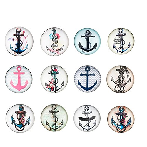Id Anchor - Mel Crouch Office Lanyard ID Badges Holder Necklaces Keychain with Anchor Charms Music Snap Button Charms Jewelry (anchor)