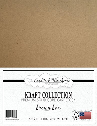 BROWN KRAFT Recycled Cardstock from Cardstock Warehouse - 8.5'' X 11'' - PREMIUM 100 LB. COVER - 25 Sheets by Cardstock Warehouse