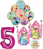 Disney Princess Party Supplies 5th Birthday Balloon Bouquet Decorations with 8 Princesses