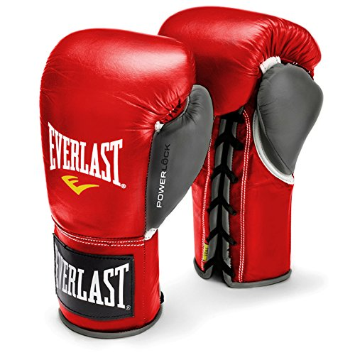 Everlast Powerlock Pro Fight Gloves (Red/Gray, 10oz L/XL)