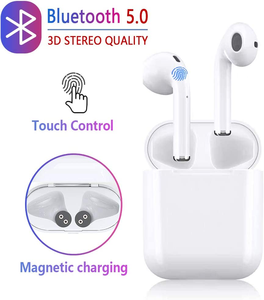 Wireless Earbuds, Bluetooth Stereo Sports Headphones, Anti-Sweat Noise Cancelling Built-in Earbuds,Pop-ups Pairing with Charging Case and HD Microphone, Compatible with All Bluetooth Devices