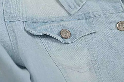 PERHAPS U Women's Short Cropped Denim Jacket Button Front Long Sleeves Jean Jackets for Women (XX-Large, Light Blue) by PERHAPS U (Image #7)