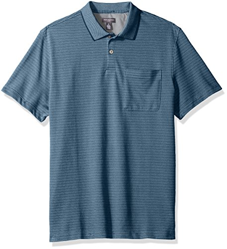 Van Heusen Men's Jacquard Short Sleeve Polo, Indian Teal, (Indian Cotton Shirt)