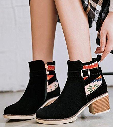 Idifu Kvinna Vintage Spänne Mitten Chunky Klackar Frostat Boots Dragkedja Upp Korta Tossor Svart