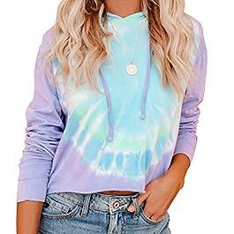 Beiranduo Women Cotton Drawstring Tie Dye Hoodie Crop Top Workout Casual Long Sleeve Cropped Sweatshirt Pullover