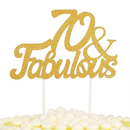 PALASASA Gold Glitter 70 & Fabulous Cake Topper, Wedding, Birthday, Anniversary, Party Cupcake Topper Decoration (Birthday Cake Favor)