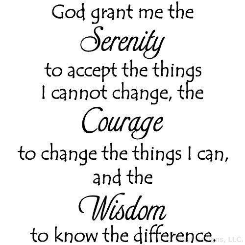 Serenity Prayer Quote Vinyl Wall Decal Sticker Art, Removable Words Home  Decor, Black, 26in x 29in