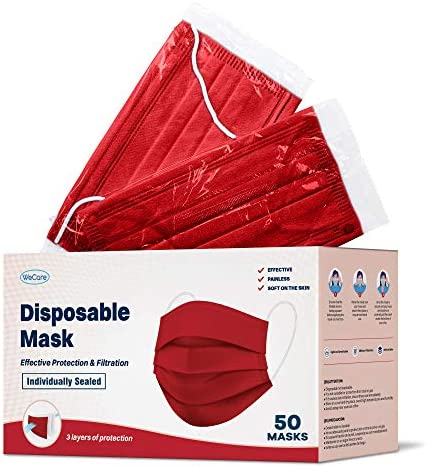 WeCare Disposable Face Mask Individually Wrapped - 50 Pack, Colored Face Masks