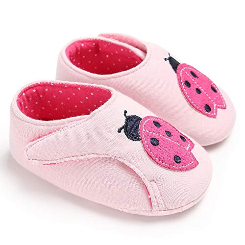 - PanGa Baby Boys Girls Non-Slip Hard Bottom Rubber Sole Pu Leather Cartoon Toddler Infant First Walkers Slippers Sneakers Crib Shoes (0-6 Months, Pink-Ladybug)