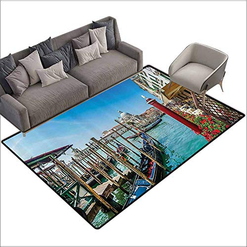 (Dining Table Rugs Wanderlust Decor Collection,Gondola in Canal Grande with Basilica di Santa Maria Della Salute in Sunny Day Image,Teal Red 64