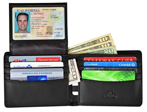 Metro Replacement Shield (RFID Blocking Leather Wallet for Men - Bonus RFID Passport Sleeve - Bifold Wallet Designed in the USA using Genuine Leather and the Best RFID blocking material for your security - Gift Box incl.)