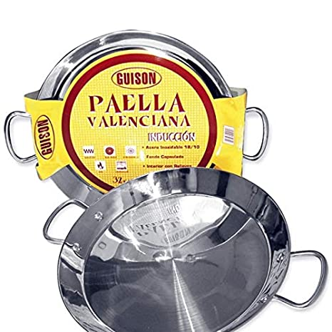 Guison 74046 Paella Valenciana Acero Inoxidable Inducción, Plateado, 46 cm