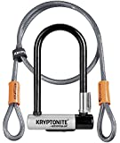 Kryptonite New-U Kryptolok Series-2 Mini-7 Heavy Duty Bicycle U Lock with 4-Foot Kryptoflex Double Looped Bike Lock Cable
