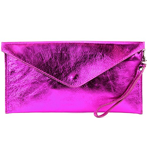 modamoda de - Made in Italy - Cartera de mano para mujer M106 Pink Metallic