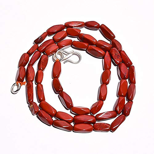 - Kanta Incorporation Natural Red Jasper Gemstone Fancy Smooth Beads Necklace 17