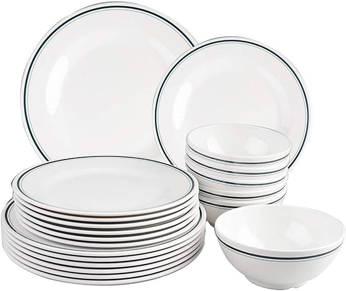 T Mark Melamine Dinnerware Set 18 Pcs Outdoor Use Melamine Dinner Plates And Bowls Set Service For 6 Lightweight Unbreakable Dinnerware Sets