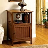 1PerfectChoice Mission Antique Oak Solid Wood Hallway Telephone Plant Stand Snack Table w/ Door