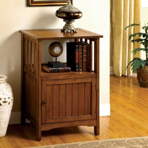 1PerfectChoice Mission Antique Oak Solid Wood Hallway Telephone Plant Stand Snack Table w/ Door by 1PerfectChoice