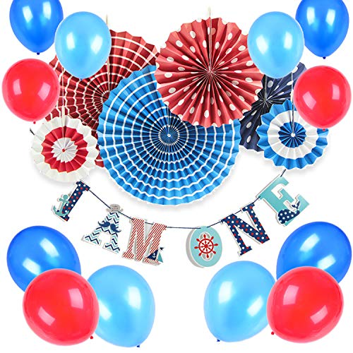 SUNBEAUTY Nautical Birthday Party Supplies Ahoy Baby Boy 1st Birthday Party Hanging Decoration 13 Pieces
