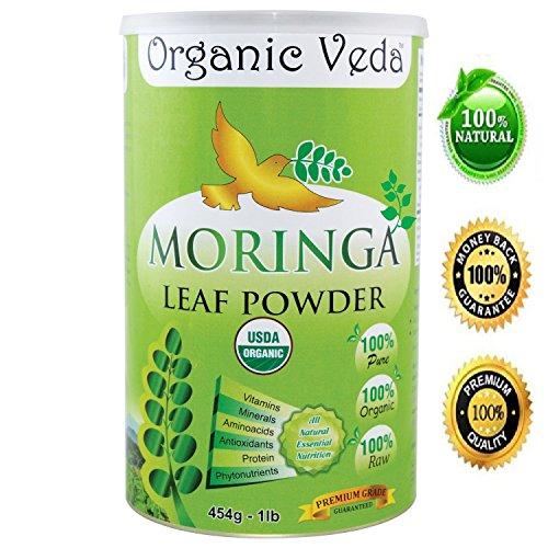 Organic Veda USDA Certified Organic Moringa Leaf Powder, 1 lb (16 Oz)