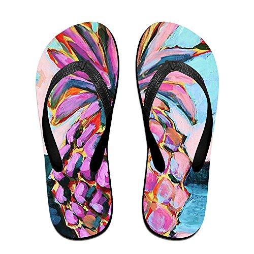Oil Women Pineapple Flip Slippers Black Kids for Flops Painting Men PTJHKET ZEqRxgwx