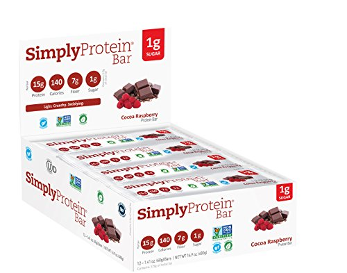 SimplyProtein Bar, Cocoa Raspberry, Pack of 12, Gluten Free, Non GMO, Vegan