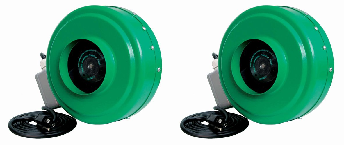 "(2) HYDROFARM ACDF6 Active Air 6"" In-Line Fans w/ Mounting Brackets 