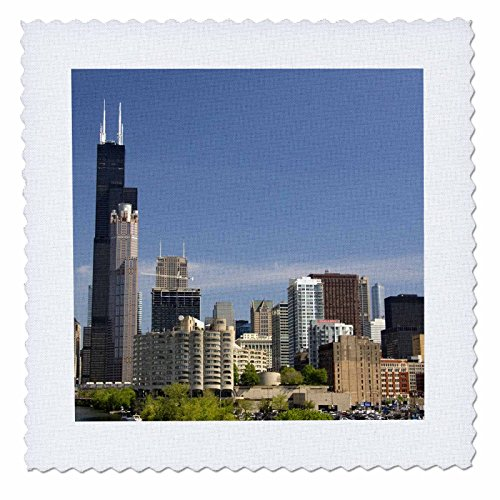 3dRose qs_90186_4 Willis and Sears Tower, Chicago River, Il-Us14 Dfr0093-David R. Frazier-Quilt Square, 12 by 12-Inch