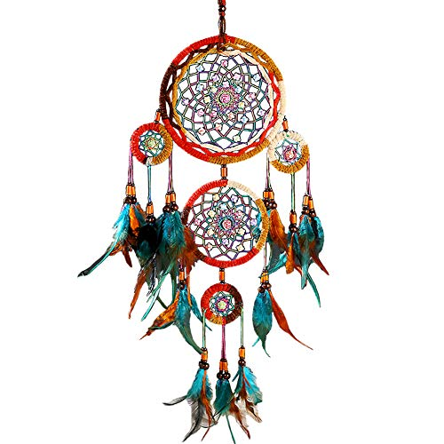 Dream Catcher Handmade Traditional Feathers Wall Hanging Decor Ornament 5 Rings Home Hanging Decoration Mascot Craft Gift Dreamcatcher Net (6.2 inch Diameter x 26.7 inches Long)