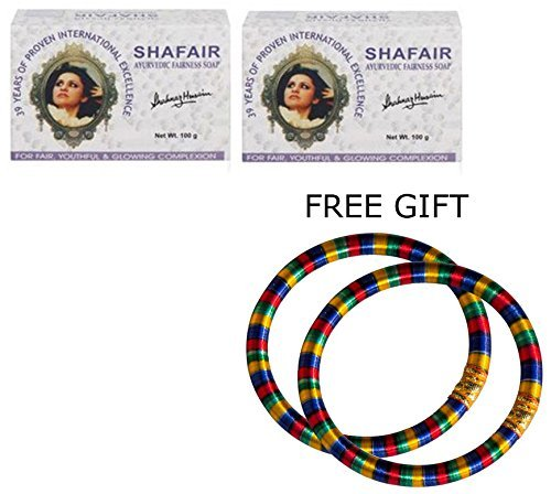 Shahnaz Husain Shafair Ayurvedic Fairness Soap - 200g - - with FREE GIFT (Pair of Multicolor Bangles) and by Shahnaz Husain ()