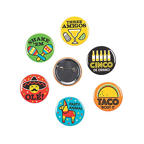 Fun Fiesta Buttons - 2 Inch for Cinco de Mayo
