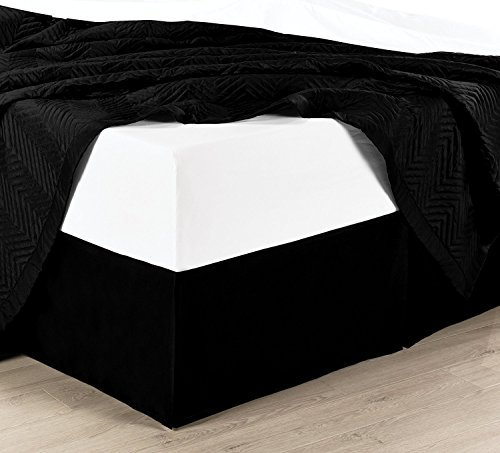 Twin Extra Long Solid Black Cotton Bed-Skirt, Pleated Tailored Bed Skirt with 15