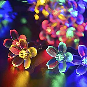 23Ft 50LED Flower Outdoor Solar Powered String Lights Colorful,Waterproof Decorative lighting for Home, Gardens, Lawn, Patio, yard