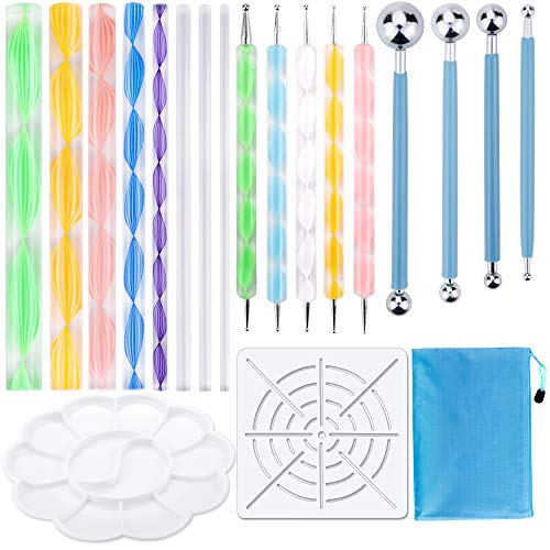19PCS Mandala Dotting Tools Set Pen Dotting Tools Mandala Stencil Ball Stylus Paint Tray for Painting Rocks, Coloring, Drawing and Drafting