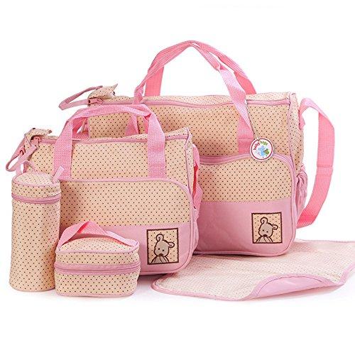 Babyhugs - Set de bolso cambiador de pañales con organizador de bolsas especial, 6 piezas morado morado rosa pastel