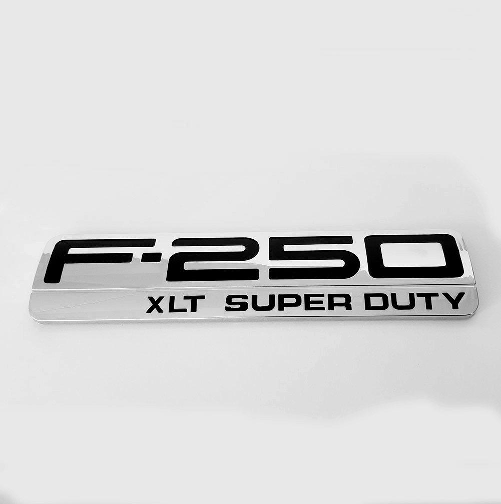 Sanucar 2x OEM F-250 XLT Super Duty Side Fender Emblems Badge 3D logo for Ford F250 XLT Pickup Chrome black