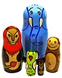 African Safari Animals 5-Piece 4.5'' Russian Nesting Doll Elephant Lion Monkey Children Educational Toy Set