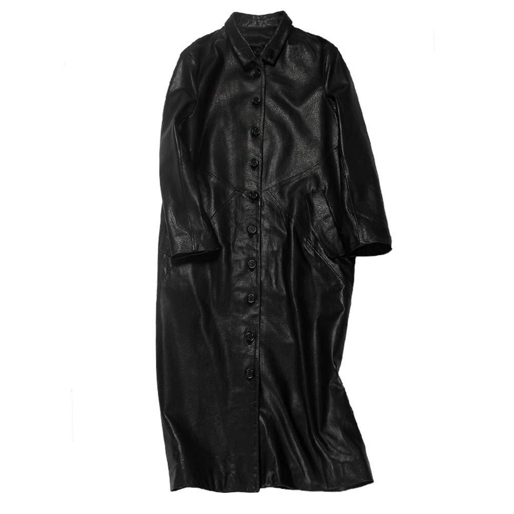 Black Women's Winter Coat Leather Jacket Luxury Leather Sheepskin Long Windbreaker Jacket Fashion Elegant