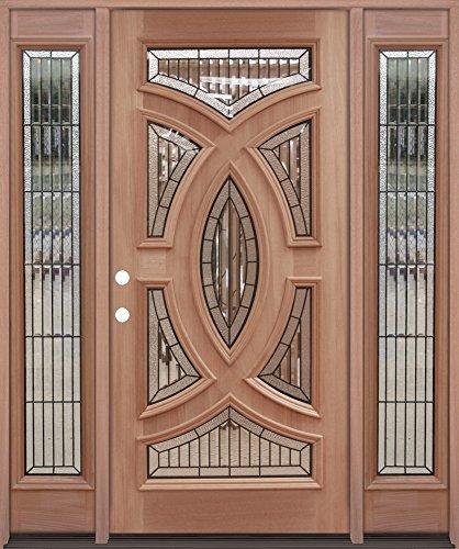 Baseball Mahogany Wood Entry Single Door w/Sidelites