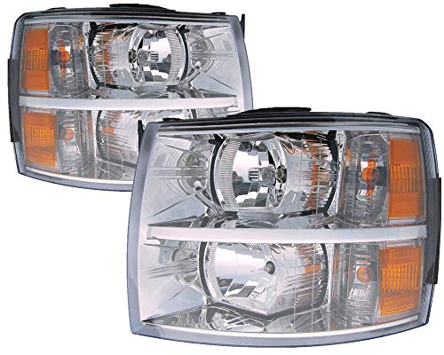 For 2007 2008 2009 2010 2011 2012 2013 Chevrolet Chevy Silverado / 1500 Hybrid Headlight Headlamp Pair Set Replacement