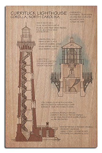 - Lantern Press Outer Banks, North Carolina - Currituck Beach Lighthouse Technical (12x18 Wood Wall Sign, Wall Decor Ready to Hang)