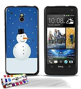Carcasa Flexible Ultra-Slim HTC ONE MINI (M4) de exclusivo motivo [Monigote de nieve] [Negra] de MUZZANO + 3 Pelliculas de Pantalla UltraClear + ESTILETE y PAÑO MUZZANO® REGALADOS - La Protección Antigolpes ULTIMA, ELEGANTE Y DURADERA para su HTC ONE MINI (M4)