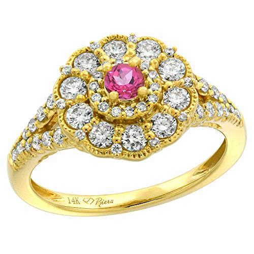 (14k Yellow Gold Diamond Genuine Pink Topaz Flower Halo Engagement Ring Round Brilliant cut 3mm, size 7.5)