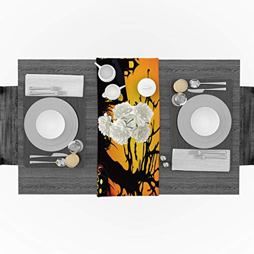 Cotton Linen Table Runner for Party, Halooween Cartoon Castle Dead Tree Bat Runners Party Supplies Home Decorations for Kitchen Dining Room Wedding Birthday Decoration & Everyday Use, 16 x 72 inches -