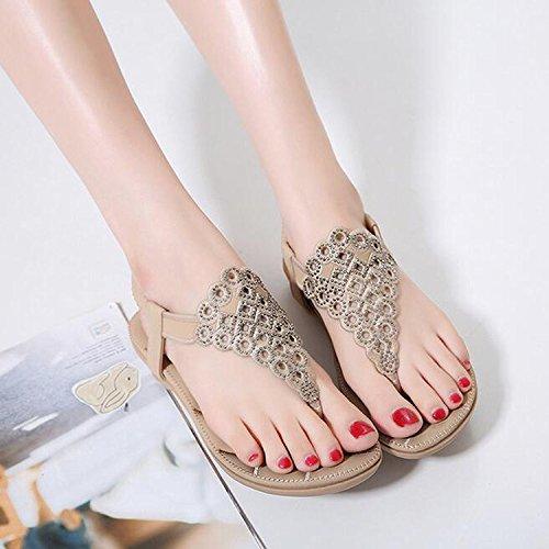 Minetom Peep Böhmen Löcher Schuhe Sommer Flach Flip Sandalen Aprikose Flops Toe Damen Mädchen mit Strand Strass HAgqr1H