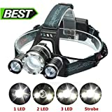 LED Headlamp, SGODDE Super Bright 6000 lumen Headlight Torch, 4-Mode Waterproof Rechargeable Lightweight Flashlight for Night Runing Camping Biking Hunting Fishing Outdoor Sports