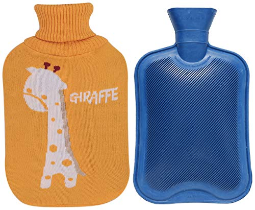 Premium Classic Rubber Hot Water Bottle and Cute Animal Embroidery Knit Cover (2L, Blue/Yellow with Giraffe)