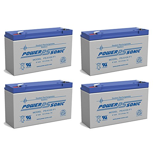 PS-6100 6V 12AH SLA UPS Battery Replacement for GS Portalac Pe6v12 - 4 Pack by Powersonic