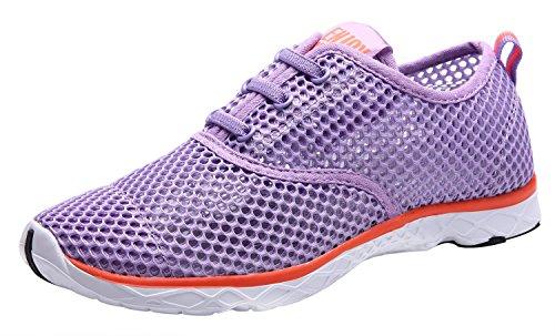 CAIHEE Women's Mesh Lightweight Quick-dry Aqua Slip On Water Shoes (5.5 B(M) US, Light Purple)